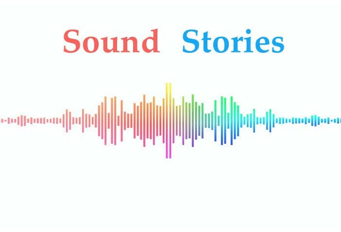 Rainbow audio wave with Sound Stories written above