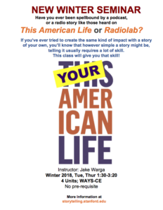 Poster for winter 2018 course called Your American Life. Course details.