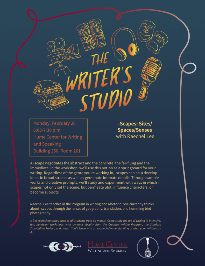 Poster for Writer's Studio event with Raechel Lee